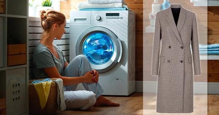 пальто в стиральной машинке