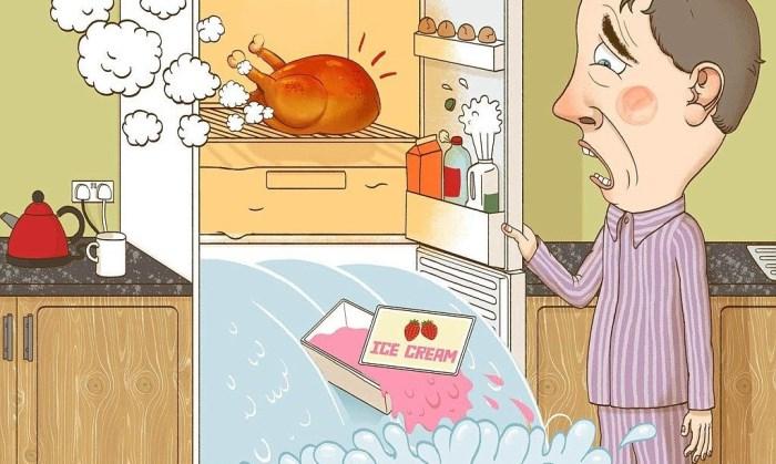 горячая курица в холодильнике